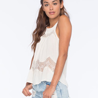 Full Tilt Lace Inset Womens Tank Cream  In Sizes