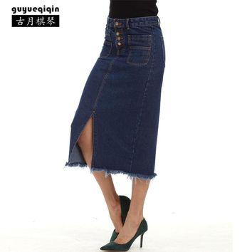 Women Denim Skirt European and American Fashion Pencil Skirt Elegant Office Lady Midi Skirt High Waist Mid-Calf Jeans Skirt