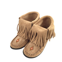 Women's Genuine Suede Fringed Moccasin Boots