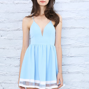 Mesh Trimmed Halter Dress