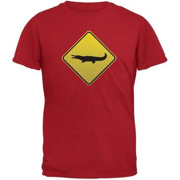 DCCKJY1 Alligator Crossing Sign Red Adult T-Shirt