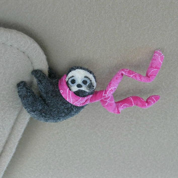 RESERVED POSTING. - Sloth Car Visor cling on - plush stuffed animal  with bendable legs and scarf - felt rain forest animal