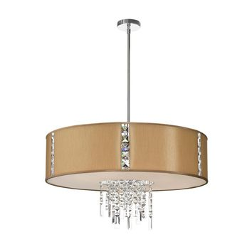Dainolite 4 Light Pendant with Crystal Accents, Polished Chrome, Silk Glow latte Drum Shade