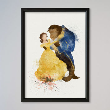 Beauty and the Beast Poster Belle Disney Poster Watercolor Print gift for her gift for him Valentine's Day Gift