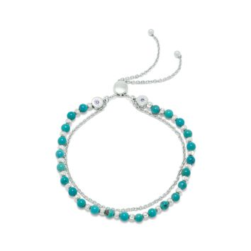 Rhodium Plated Sterling Silver Double Strand Reconstituted Turquoise Bolo Bracelet