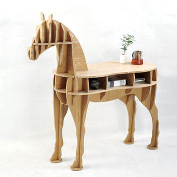 Home Decor Living Room End Table Wooden Horse Desk,