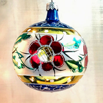 vintage hand painted poland blown glass christmas tree ornament - Blown Glass Christmas Ornaments