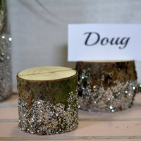 rustic chic wedding decor place card holders, rustic glam wedding log place card holders, rustic wedding decor, outdoor wedding decor