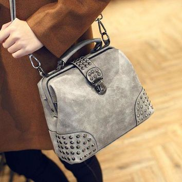 LMFON1O Day First Vintage Gray Leather Studded Crossbody Doctor Bag Shoulder Handbag