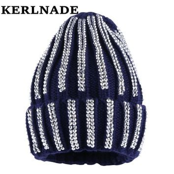women luxury winter hat brand beanies girl fashion skully skullies knitted cotton bling rhinestone casual thermal winter hats