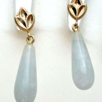 14K Gold Dangle Green Jade Jadeite Earrings
