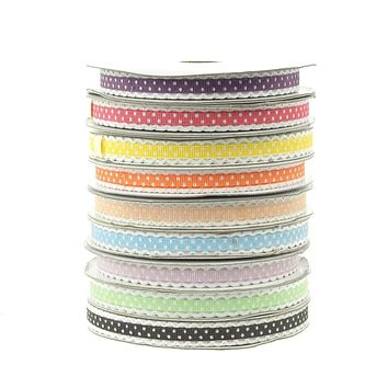 Polka Dot Picot-edge Polyester Ribbon, 3/8-Inch, 25- Yards