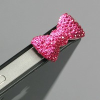 ZuGadgets Magenta / Earphone jack accessory / Bow Dust Plug / Ear Cap / Ear Jack For iPhone / iPad / iPod Touch / 3.5mm-7232-3