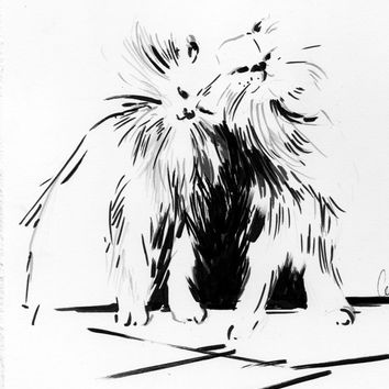 Cats Original Ink Drawing, Cat Drawing Art, Modern Black and White Art