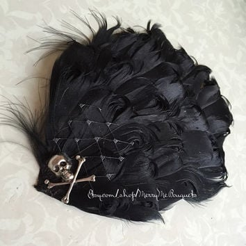 Gothic Black Skull Feather Hair Comb. Gothic Skull Fascinator. Black Feather Fascinator