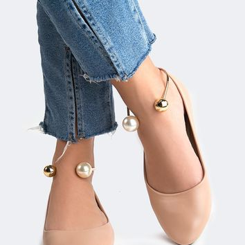 Pearl Ankle Flats