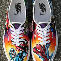 Hand Painted Marvel Comic Shoes size 8 mens / 9.5 women