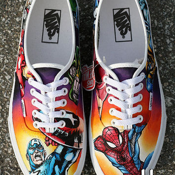 Hand Painted Marvel Comic Shoes size 8 from BBEE on Etsy | Shoes