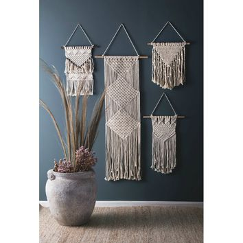 Nordic Style Hand Made Macrame Woven Wall Hanging Fringe Garland Banner Shabby Chic Bohemian Wall Decor - Apartment Dorm Living