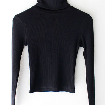 Ribbed Knit Turtleneck Crop Top - Black