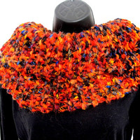 Chunky orange cowl, knit circle scarf, luxury knit infinity scarf