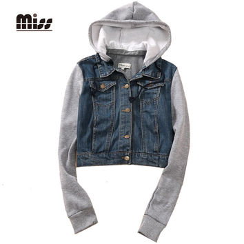 MISS 2016 Denim Jacket Women Hoodie Casual Coat Spring Jaket Patchwork Short Full Sleeve Veste Jeans Femme Jean Jacket T5B69