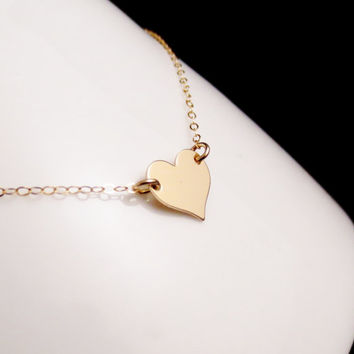 Gold Heart Necklace, Personalized Initial Jewelry, Celebrity Inspired Necklace, Summer Jewelry