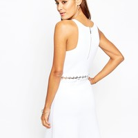 ASOS Premium Dress in Structured Knit with Lace Up Detail
