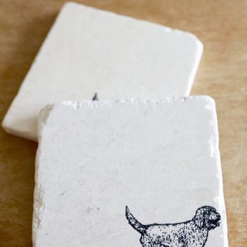 Goldendoodle Marble Coasters
