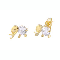 14k Yellow Gold Elephant Stud Earrings 6mm x 8mm Clear CZ