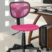 Pink mesh secretary office chair with black accents and casters with gas lift