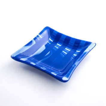 Cobalt Blue Stripe Fused Glass Dish, Jewelry Holder, Catch All, Coin Bowl, Bedroom Decor, Home Accessories, Dresser Tray, Cool Gift for Guys