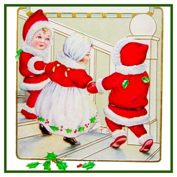 Vintage Christmas Santa Helpers Nimble Nicks # 4 Counted Cross Stitch or Counted Needlepoint Pattern