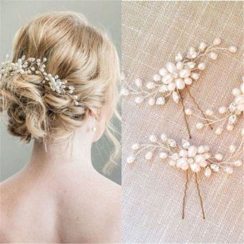 DCCKU62 New Fashion Bridal Hair Accessories Pearl Beaded Crystal Hairpin Flower Hair Pin Stick Wedding Jewelry