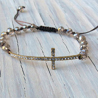 Side Cross Bracelet, Gold, Rhinestones, Crystal Macrame, Gifts for Her, Christian, Religious Jewelry, Fall Jewelry,Tweens, Gifts Under 30