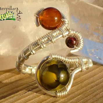 Sterling Silver Genuine Baltic Amber Ring - Adjustable Wire Wrap Ring