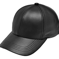 Fitted Cowhide Leather Baseball Caps Made in USA Various Colors (XX-Large, Black)