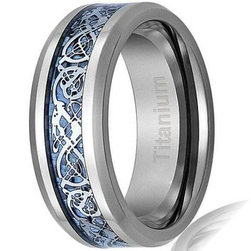CERTIFIED 8MM Titanium Ring Wedding Band Celtic Dragon Design over Blue Carbon Fiber Inlay