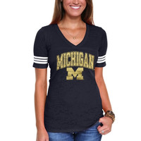 Michigan Wolverines Ladies Almost There Slim Fit V-Neck T-Shirt - Navy Blue