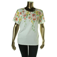 Alfred Dunner Womens Floral Print Short Sleeves Pullover Top