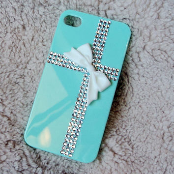 cute iphone case, swarovksi crystals cross white bow iphone 5 case, bling iphone 4 case, unique gift custom SAMSUNG galaxy s3 case