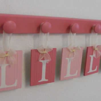 Wooden Letters for Girls Room Pink Baby Name Wall Letters Personalized for LILLY - 5 Pegs