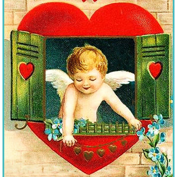 Vintage Cupid in a Heart Window Love From Antique Card Counted Cross Stitch or Counted Needlepoint Pattern