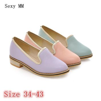 Slip On Oxford Shoes For Women Career Flats Oxfords Woman Brogue Flat Shoes Casual Loafers Plus Size 34-40 41 42 43 High Quality