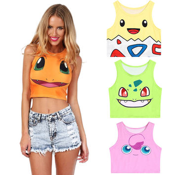 380edb1f73bc5 Cute Pokemon Go Cartoon 3D Print Crop Tops Squirtle Pikachu Bulb