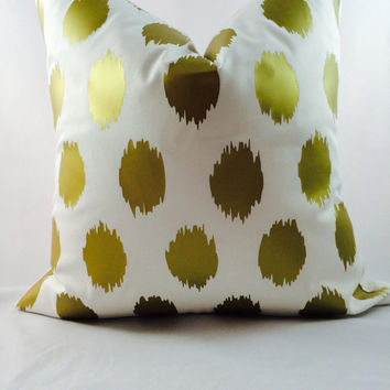 Metallic gold ikat Jo Jo polka dot pillow on ivory fabric