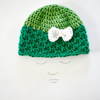 Green Crochet Baby Hat - Two Tone Toddler Girl Hat - Size 12-18 Months -  The Audriana Hat