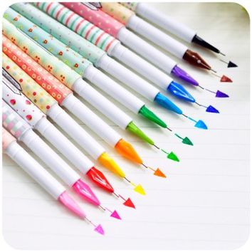 Creative design korea stationery mini multicolour pen 0.5mm resurrect water-based pen 10 different color