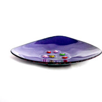 Deep Purple Triangular Trinket Dish Plum Enamel Bowl Enamel Bowl Enamel Dish