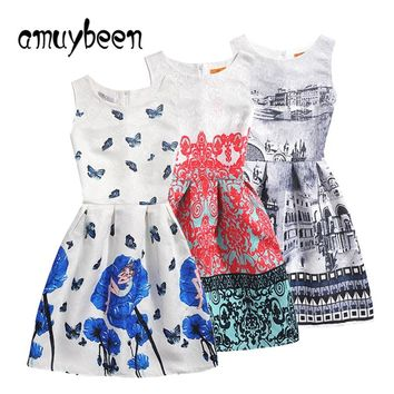 Amuybeen 2019 Summer Girls Dress Casual Print Pattern Christmas Princess Party Children New Year Kid Clothes Baby Dresses 10 11